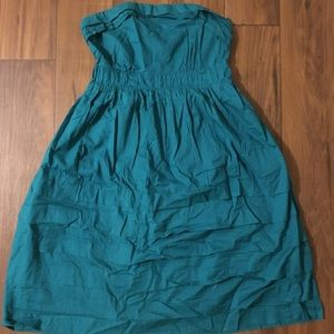 Anthropologie green strapless dress.